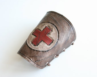 leather steampunk cuff , nurse edition 1 ,made to order