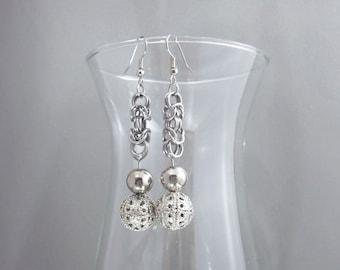 Chainmail Ball Filigree Earrings