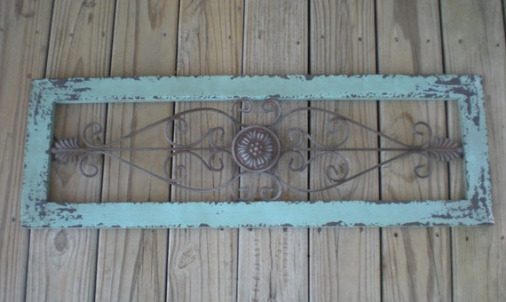 Turquoise Blue / Wrought Iron Decor / Shabby Chic / Wall Decor