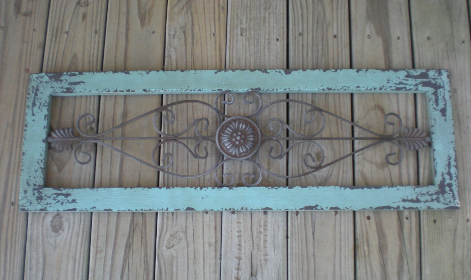 Turquoise Blue / Wrought Iron Decor / Shabby Chic / Wall Decor
