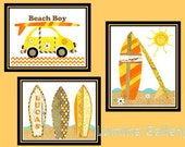 Surfboard  Wall Art,  Beach Boy Nursery Print,  Retro 70s Inspired, Personalized Orange, Yellow, Brown Chevron Surf Decor, 3 - 8 x 10 prints