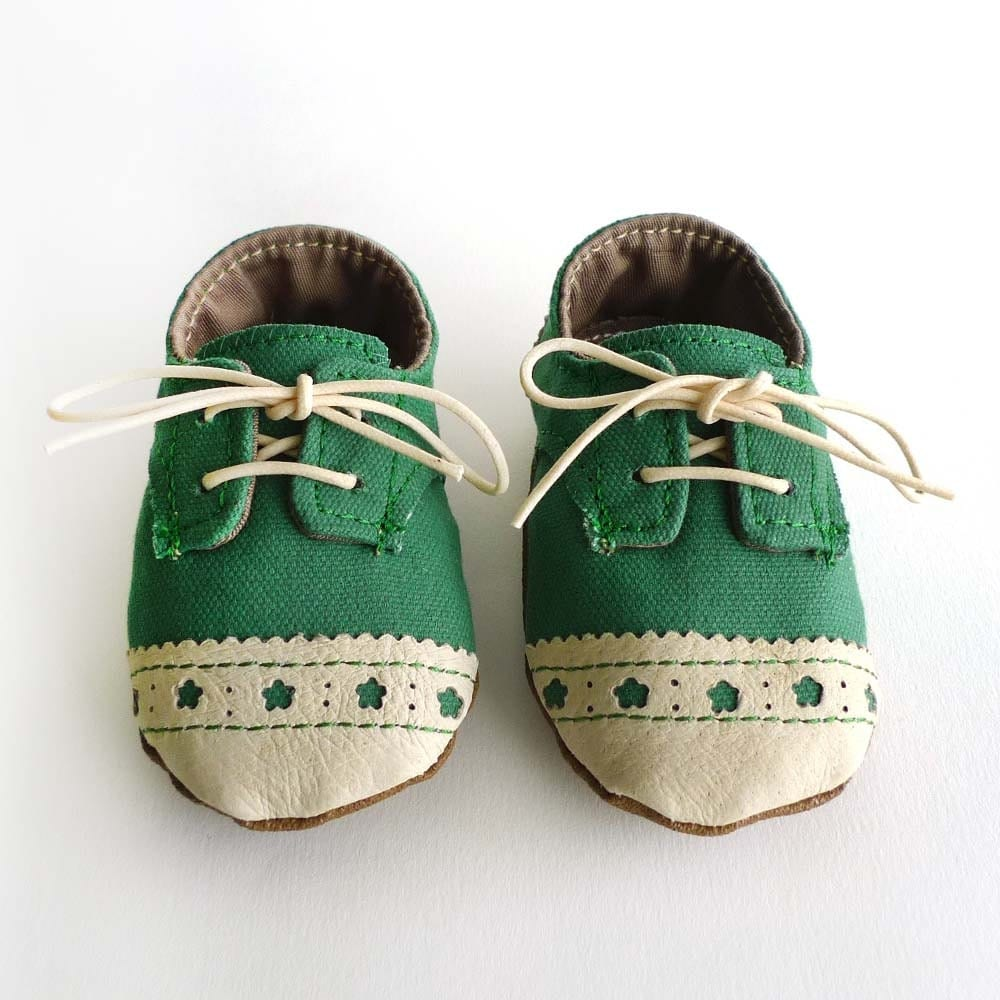 Baby Shoes Boy or Girl Green Canvas with Brogued Leather Soft