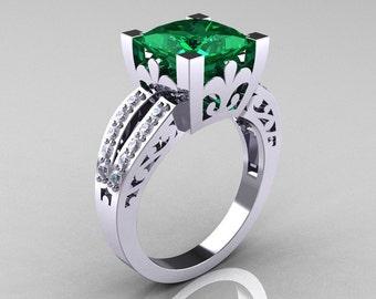 French Vintage 14K White Gold 3.8 Carat Princess Emerald Diamond Solitaire Ring R222-WGDEM