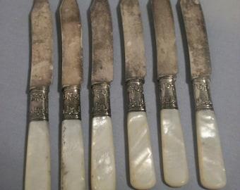 6 Pearl Handle Fruit Knives by LANDERS FRARY & CLARK W/ Sterling Bolsters