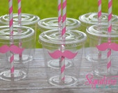 Mustache Party Cups Lids Paper Straws-Set of 12