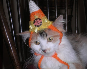 Candy Corn Dog or Cat Hat Halloween Costume Party Hat  Crocheted Cat Hat  X Small with Trick or Treat Button