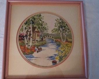 Embroidery Crewel Landscape Handmade  Framed  Beautifully Hand  Stitched    1978 Signed  Vintage