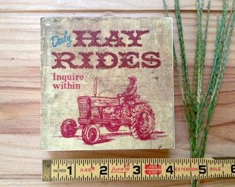 Hay Rides Mini Retro Wood Sign