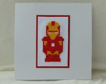 Iron Man Cross Stitch Card