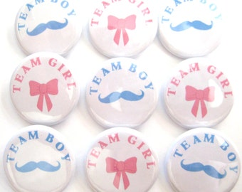 Gender Reveal Party  Party Favors Set of 20 1.25 inch Pin Back  Buttons Pink Blue Baby Shower Team Buttons