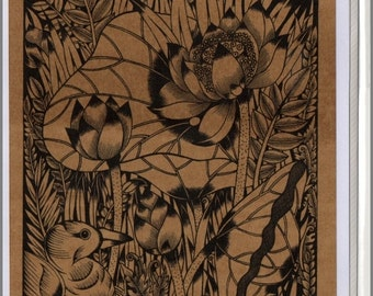 Thai traditional art Lotus by printing on Sepia paper card