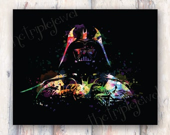 Darth Vader Splatter, Star Wars, 8x10 Print, Nerdery, Geekery, Art, Wall Decor, Dorm Decor, Colorful, Geek, Fandom, Fangirl, Fine Art