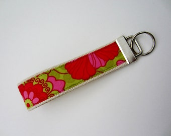 Key Fob Wristlet  / Pink with Green Key Chain