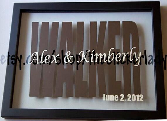 Personalized names floating frame wedding gift