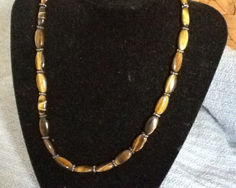 Natural oval tigereye necklace