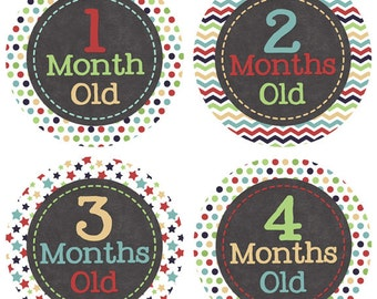 Newborn Monthly Stickers Baby's First Year Baby Month Bodysuit Stickers Milestones Boy Baby Shower Gift Newborn Photo Prop BMST010