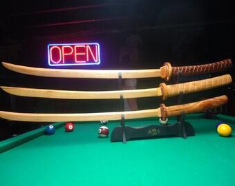 Wooden Samurai swords- Wood sculpture - Wall decor - Hand made artwork - Wooden art - Wood swords - Hand carved - Wood carving - Artwork