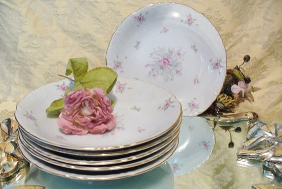 6 Vintage Shabby Chic Pink Roses Bowls Meito fine China Rose Lane Pattern Replacements