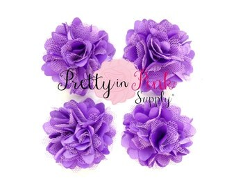 Purple Grape Satin Mesh Flowers Set of 4...Mini Satin Mesh Flowers...Satin Flowers..Tulle Flowers...Silk Flower