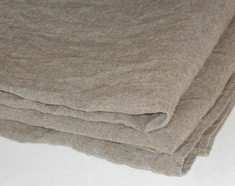 Round Linen Burlap Tablecloth, Taupe Washed Rough Rustic Country Style  Vintage Look Table Cloth