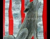 "Wolf kids art, Original gallery wrap collage, 6 x 6"", Woodland nursery art, Forest animal nursery, Wolf painting, Tribal animal nursery art"