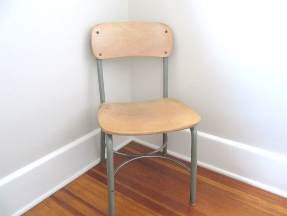 "Mid Century Eames Era Bent Wood School Chair 16"" ADULT SIZE"
