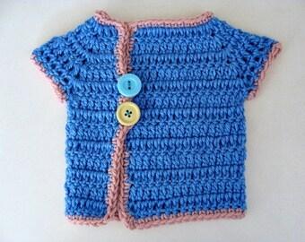 Crochet Baby Girl Sweater Blue Kimono Style