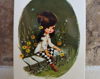UNOPENED Little Girl & Daisies Playing Cards Collage Supplies