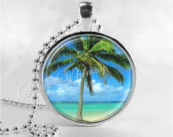 PALM TREE Necklace, Palm Tree Pendant, Tree Jewelry, Palm Tree Charm, Glass Photo Art Necklace, Tropical, Beach, Vacation, Beach, Ocean