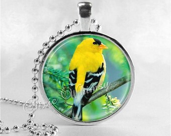 GOLDFINCH Necklace, Goldfinch Pendant, Goldfinch Jewelry, Bird On Branch, Bird Charm, Tree Necklace,  Photo Art Glass Necklace Pendant Charm