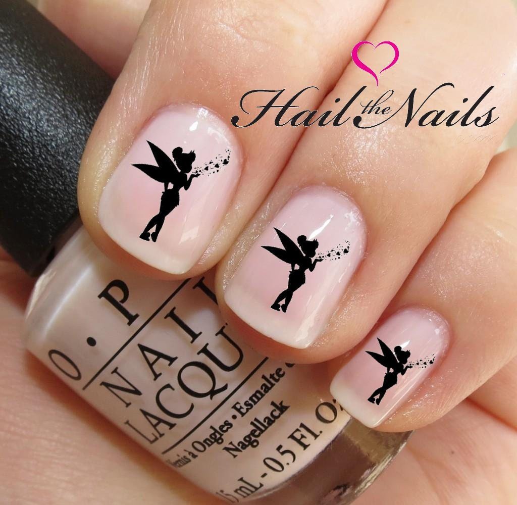 Tinkerbell Nails: Nail Art Water Transfer Decal Tinkerbell Fairy Want Hearts