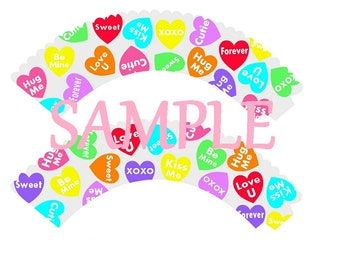 DIY Sweet Heart Cupcake Wrappers Digital Instant Download