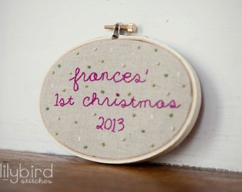 CUSTOM personalized hand embroidery hoop ornament for babys first christmas