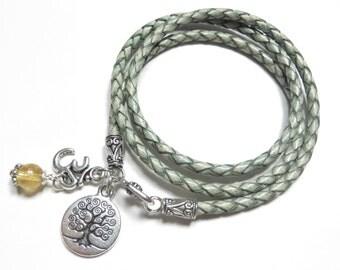 Yoga Leather Wrap Bracelet Tree Of Life Yoga Jewelry Om Leather Cord Citrine Ohm Jewelry Bohemian Yoga Bracelet Wrist Band Christmas Gift