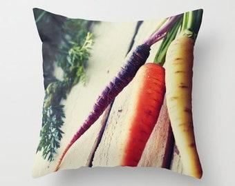 Vegetable Pillow - Farm Pillow - Food Pillow - Carrot Pillow Case - Kitchen Pillow 16x16 18x18 20x20 Pillow Cover