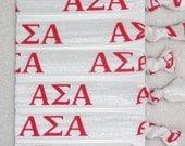 6 Pack Alpha Sigma Alpha Sorority Ready Made Hair Ties  Rush Bid Gift Gifts