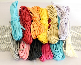 12 Bundles of Assorted Color Paper Twine, Solid Color, Crafting, Gift Wrapping