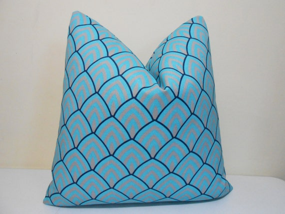 Turquoise Navy Gray Outdoor Indoor Pillow Cover By