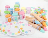 Fondant Edible Paint Party Cupcake Toppers as Seen on Hostess with the Mostess - Rainbow, Art, Painting, Arty Party, Rainbow Paint Party