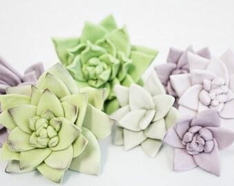 Edible Fondant Sugar Flower SUCCULENTS - 6 qty large, med, sm for wedding cake, modern wedding
