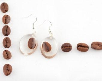 Coffee beans earrings - Resin earrings - Coffee jewelry - Dark brown earrings - Chocolate earrings - Coffee beans jewellery - Coffee lover