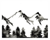 Modern Mountain Print Black and White Watercolor Forest Art Print Abstract Minimalist Artwork Monochrome Print Nature Wall Art Scandinavian