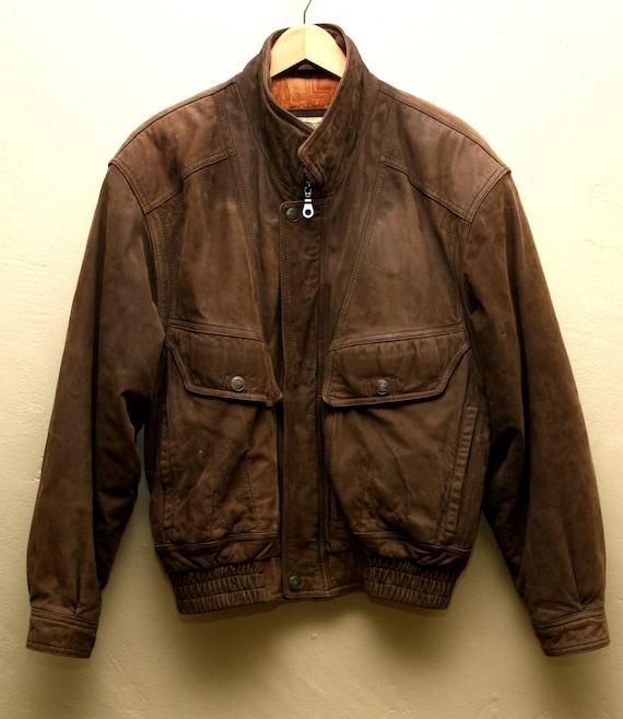 Men's Vintage Brown Leather Bomber Jacket Flight Jacket