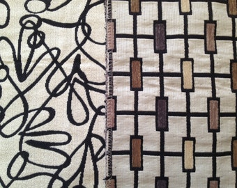 Gorgeous Large Upholstery Swatches, Rectangular or Swirl Very Modern Mid Century Feel. Mad Men!