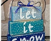 Save 15% Now: Let it Snow Christmas Decor Wood Stacked Block Sign with Ribbon - ArtSortof