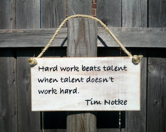 Hard Work Sign - Distressed Motivational Inspirational Wood Sign