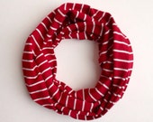 Red and white Bamboo jersey infinity scarf for children