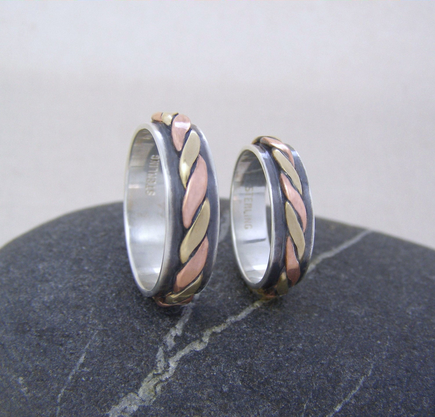 Rustic Wedding Ring Set Silver Copper And Bronze Wedding