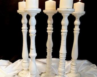 20 Inch Elegant Wedding Pillar Candle Holder Set of Five