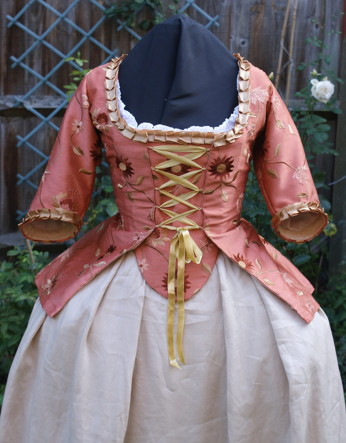 Christmas gown ideas 18th - 18th Century Marie Antoinette Embroidered Faux Silk Caraco Jacket Custom Period Rococo Clothing Historical Costume Party